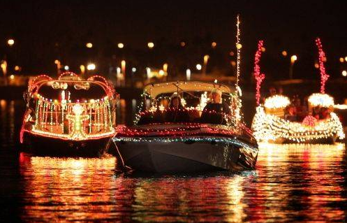 Photo: Boats with Christmas Lights on SML